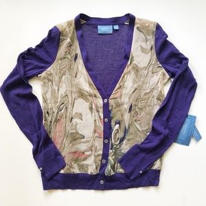🔴 Simply Vera Wang Purple Button Front Cardigan